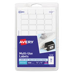 "Avery Self Adhesive White Removable Labels, Rectangular, 1/2"" x 3/4"", 1000/Pack"