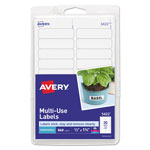 "Avery Self Adhesive White Removable Labels, Rectangular, 1/2"" x 1 3/4"", 840/Pack"