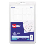 "Avery Self Adhesive White Removable Labels, Rectangular, 3/4"" x 1"", 1000/Pack"