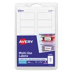 "Avery Self Adhesive White Removable Labels, Rectangular, 3/4""x1 1/2"", 504 per Pack"