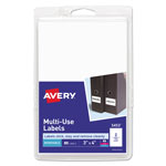 "Avery Self Adhesive White Removable Labels, Rectangular, 4"" x 3"", 80/Pack"