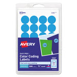 "Avery Print/Write Self Adhesive Removable Round Labels, 3/4"" meter, Light Blue, 1008 per Pack"