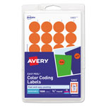 "Avery Print/Write Self Adhesive Removable Round Labels, 3/4"" Dia., Orange, 1008/Pack"