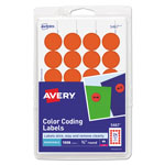 "Avery Print/Write Self Adhesive Removable Round Labels, 3/4"" meter, Red Neon, 1008 per Pack"