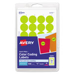 "Avery Self Adhesive Removable 3/4"" Dia. Round Labels, Yellow Neon, 1008/Pack"