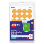 Avery Print or Write Removable Color-Coding Labels, 3/4in dia, Neon Orange, 1008/Pack