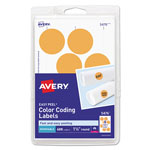 "Avery Self Adhesive Removable Labels, Round 1.25"" meter, 400 per Pack, Orange Neon"