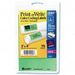 Avery Self Adhesive Removable Labels, Rectangular, 2 x 4, Green Neon, 75/Pack