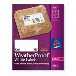 "Avery Weatherproof Mailing Labels, 2""x4"", 500/BX, White"