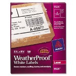 "Avery Weatherproof Mailing Labels, 5 1/2""x8 1/2"", 100/BX, White"