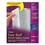"Avery Laser Labels, Clear, Mailing, 1/2""x1 3/4"", 2000/BX"