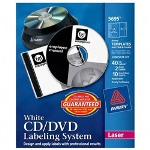 Avery CD/DVD Design Kit For Laser Printers with Label/Inserts, White