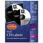 Avery CD/DVD Labels, 250 Labels, White Laser Matte