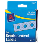 "Avery Self-Adhesive Reinforcement Labels, 1/4"" Round, Clear, Pack of 200"