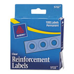 "Avery Self-Adhesive Reinforcement Labels, 1/4"" Round, Clear, Pack of 1000"