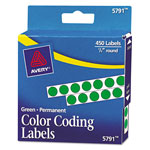 "Avery Self Adhesive Round Permanent Labels, 1/4"" meter, Green, Dispenser Roll, 450 per Pack"