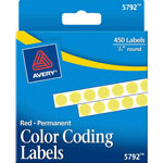 "Avery Self Adhesive Round Permanent Labels, 1/4"" meter Yellow, Dispenser Roll, 450 per Pack"