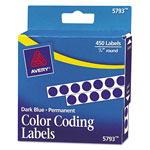 "Avery Self Adhesive 1/4"" Dia. Round Permanent Labels, Dark Blue, 450/Pack"