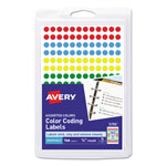 "Avery Self Adhesive Removable Labels, Round, 1/4"" meter, Assorted Colors, 760 per Pack"
