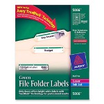 Avery Permanent Printer Filing Labels, 1/3 Cut, 1500/BX, Green