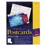 "Avery Color Laser Postcards, 4""x6"", 80/Pack, White"