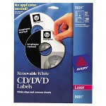 Avery CD Labels, Laser Matte, Removable, 50/Pack, White