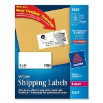 "Avery Laser Labels, White, Mailing, 2""x4"", 2500/BX, White"