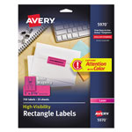 "Avery Neon Laser Labels, Rectangle, 1""x2 5/8"", 750/Pack, Magenta"