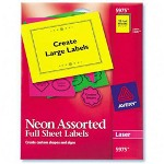 "Avery Neon Laser Labels, Rectangle, 8 1/2""x11"", 15/Pack, Assorted"