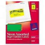 "Avery Neon Laser Labels, Rectangle, 2""x4"", 150/Pack, Assorted"