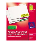 "Avery Neon Laser Labels, Full Sheet, 1""x2 5/8"", 450/Pack, Assorted"