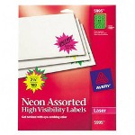 "Avery Neon Laser Labels, Burst, 2-1/4"" Diameter, Assorted, 180/Pack"