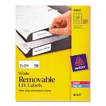 "Avery Removable ID Laser/Inkjet Labels, 1""x2 5/8"", 750/Pack, White"