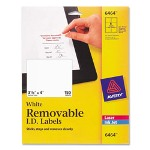"Avery ID Laser/Inkjet Labels, Removable, 3 1/3"" x 4"" 150/Pack, White"