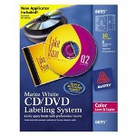 Avery CD/DVD Design Kit With Labels And Inserts, White Matte