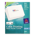 "Avery Color Ink Jet Labels, Matte White, Rectangle, 1 ""x2 5/8"""