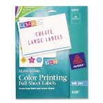 "Avery Color InkJet Labels, Matte White, Full Sheet, 8 1/2""x11"""