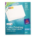 "Avery ColorInk Jet Labels, Matte White, Rectangle, 3/4""x2 1/4"", WE"