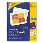 "Avery Inkjet Embossed Cards, 5 1/2""x4 1/4"", 60/BX, Ivory"