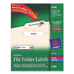 Avery Permanent Printer Filing Labels, 1/3 Cut, 750 per Pack White