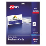 "Avery Business Card, Inkjet, 2""x3 1/2"", 250/Pack, White"