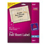 "Avery Clear Full Sheet Ink Jet Labels, 8 1/2""x11"""