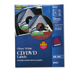 Avery CD Labels, Inkjet Glossy, 20PK, White