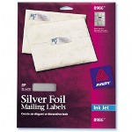 "Avery Ink Jet Silver Foil Labels, Mail, 3/4""x2 1/4"", 300/Pack"