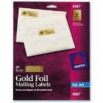 "Avery Ink Jet Gold Foil Labels, Mail, 3/4""x2 1/4"", 300/Pack"