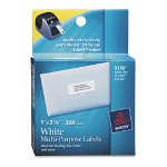"Avery Printer Labels, Mailing, 1""x2 5/8"", 300/Pack White"