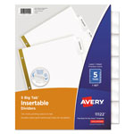Avery WorkSaver® Big Tab Insertable Dividers, 5-Tab Set, Clear