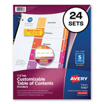 Avery Ready Index® Table of Contents Dividers, 5-Tab, 24 Sets, Assorted Colors