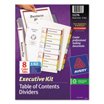 Avery Ready Index® Table of Contents Dividers Executive Kit, 8-Tab Set, Multicolor