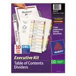 Avery Ready Index® Table of Contents Dividers Executive Kit, 10-Tab Set, Multicolor